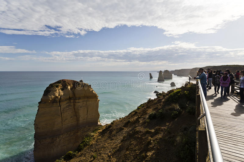 Twelve Apostles Crowded Lookout stock image