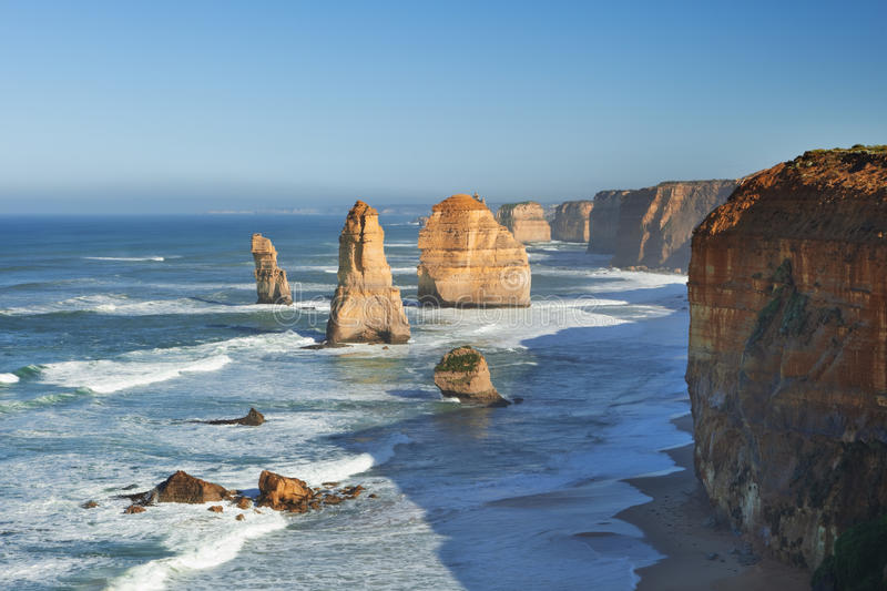 Twelve Apostles on the Great Ocean Road, Australia. The Twelve Apostles along the Great Ocean Road, Victoria, Australia royalty free stock images