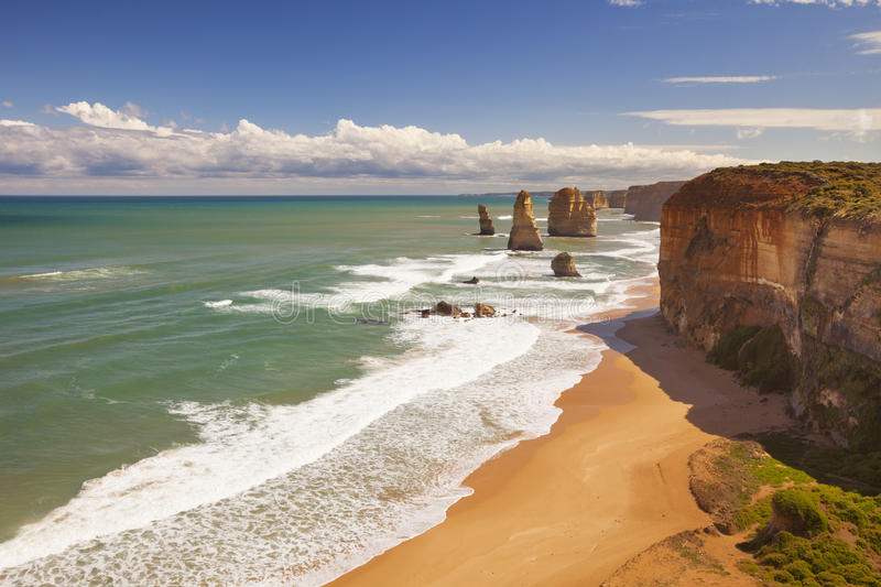Twelve Apostles on the Great Ocean Road, Australia. The Twelve Apostles along the Great Ocean Road, Victoria, Australia on a beautiful sunny day stock photo