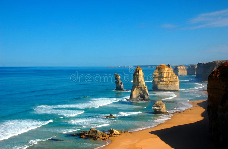 Twelve Apostles on Great Ocean Road, Australia. The Great Ocean Road is an Australian National Heritage listed 243 kilometres stretch of road along the south royalty free stock photography