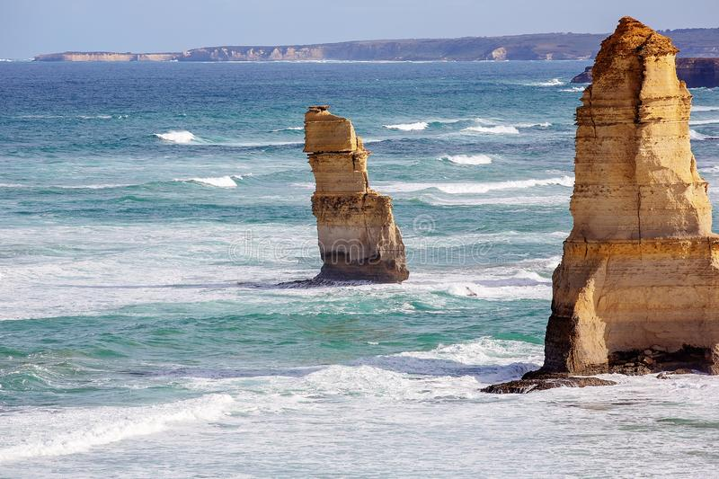 The Twelve Apostles On The Great Ocean Road Australia. Part of The Twelve Apostles on The Great Ocean Road in Victoria Australia - Famous landmark stock photography