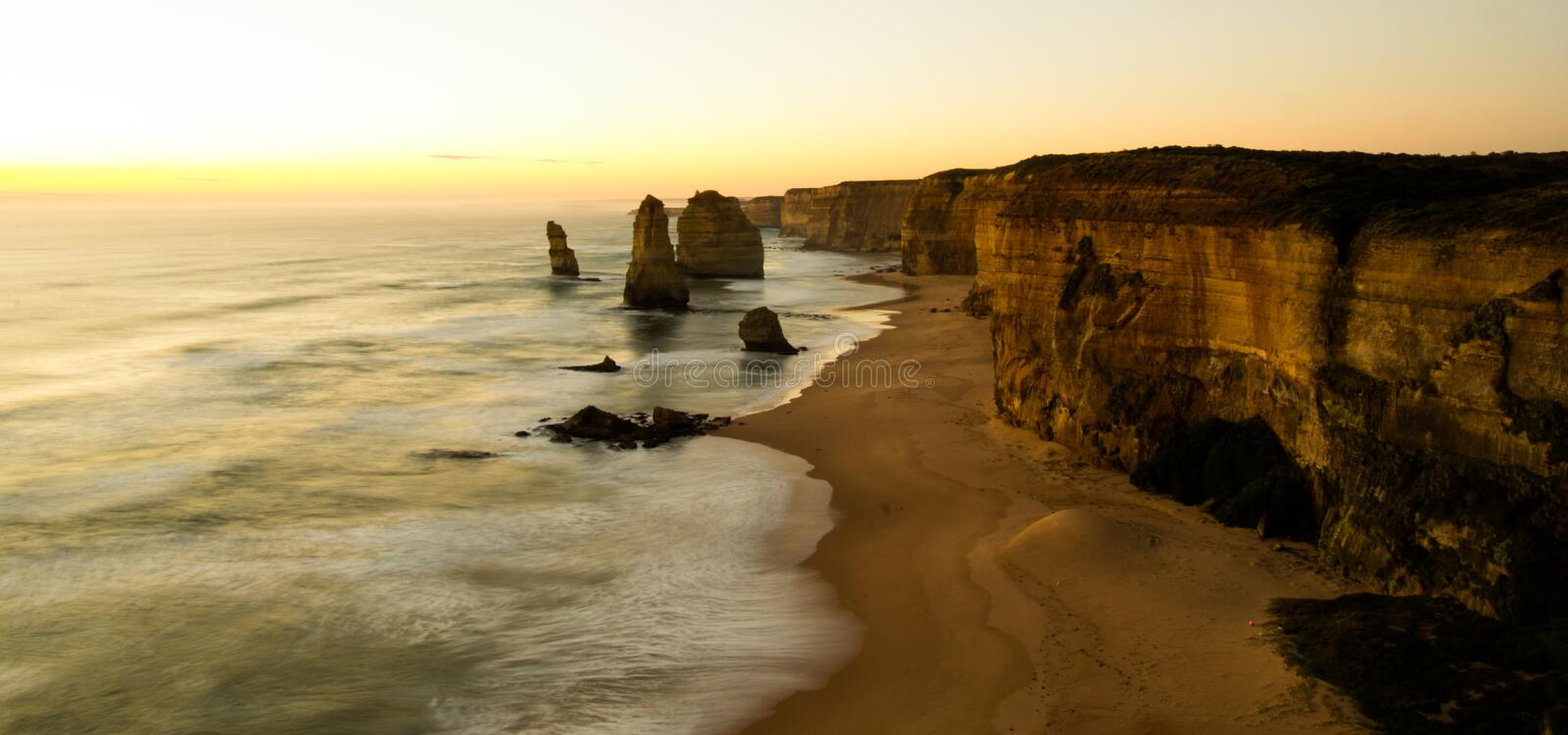 The Twelve Apostles. Great Ocean Road in Victoria, Australia, taken at sunset on a long exposure stock photo