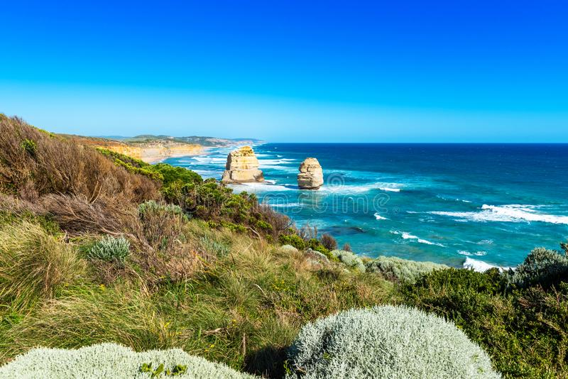 Twelve Apostles Marine National Park, Victoria, Australia. Copy space for text.  royalty free stock photos