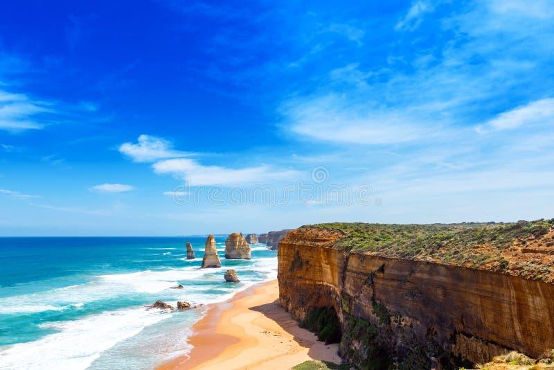 Twelve Apostles Marine National Park, Victoria, Australia. Copy space for text.  royalty free stock photo