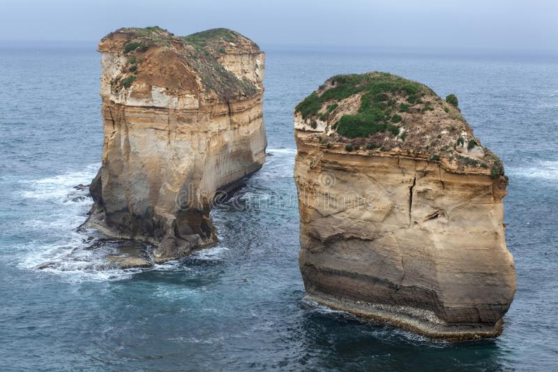 Twelve Apostles and orange cliffs along the Great Ocean Road in Australia. Image stock photo