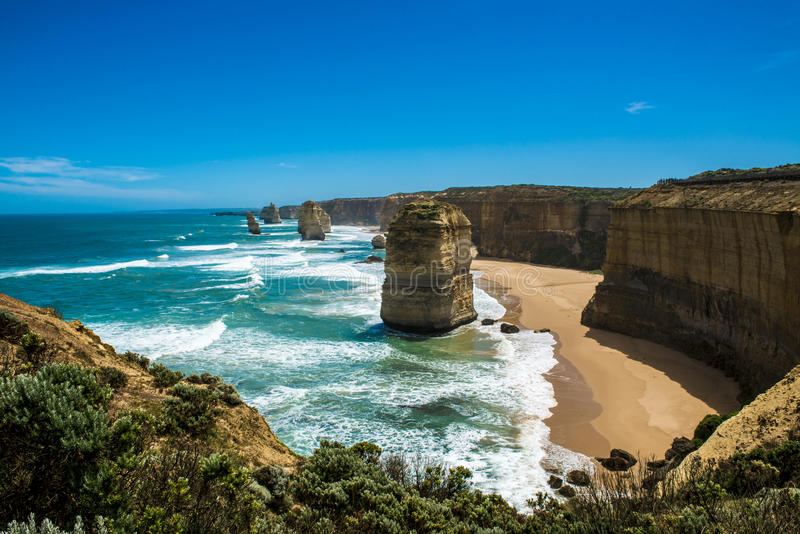 Twelve Apostles. The popular attraction The twelve Apostles on the Great Ocean Road in Southern Australia(Victoria) royalty free stock image