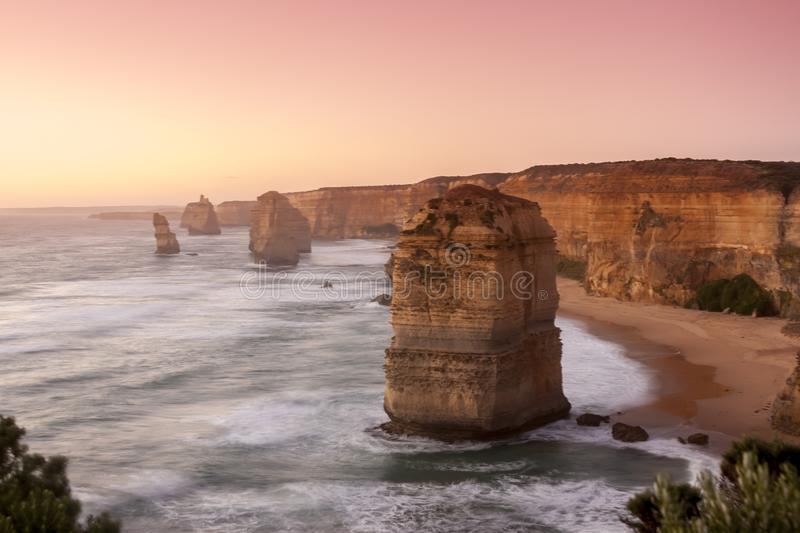Twelve Apostles Sea Rocks near Great Ocean Road , Port Campbell National Park, Australia. Soft, selective focus, pink filter stock photo