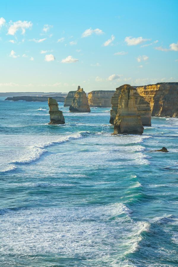 Twelve apostles at sunset,great ocean road at port campbell, australia 12 royalty free stock image