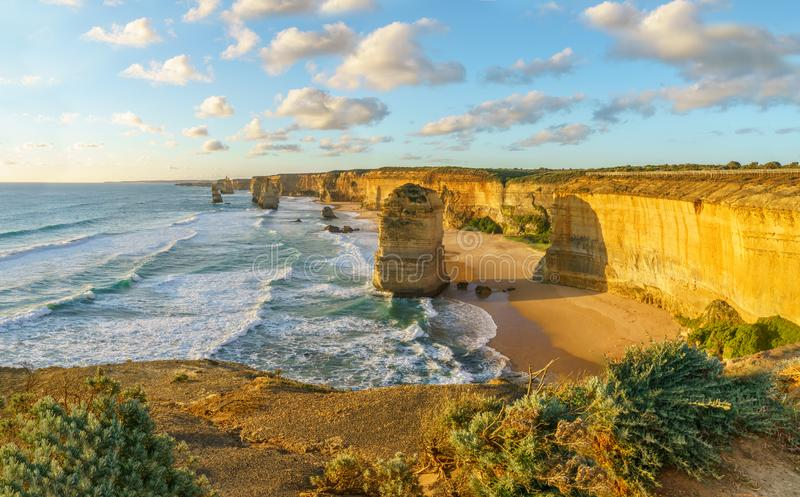 Twelve apostles at sunset,great ocean road at port campbell, australia 53. Twelve apostles marine national park at sunset,great ocean road at port campbell stock image