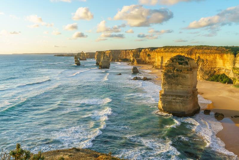 Twelve apostles at sunset,great ocean road at port campbell, australia 56. Twelve apostles marine national park at sunset,great ocean road at port campbell royalty free stock photography