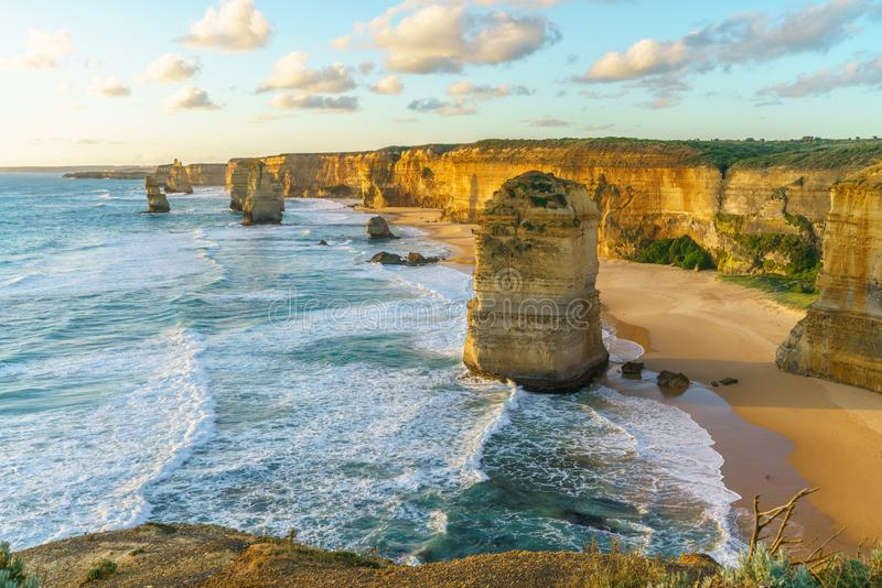 Twelve apostles at sunset,great ocean road at port campbell, australia 59. Twelve apostles marine national park at sunset,great ocean road at port campbell stock photos