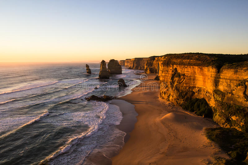 The Twelve Apostles at Sunset. The Twelve Apostles, Great Ocean Road in Victoria, Australia, taken at sunset on a long exposure royalty free stock image