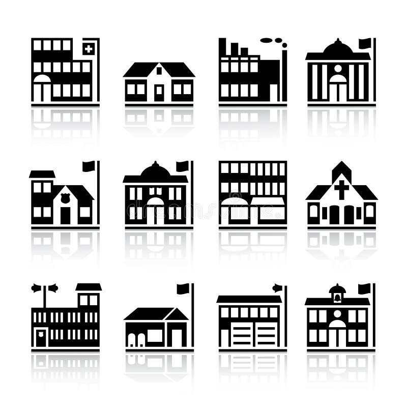 Twelve building silhouettes stock illustration