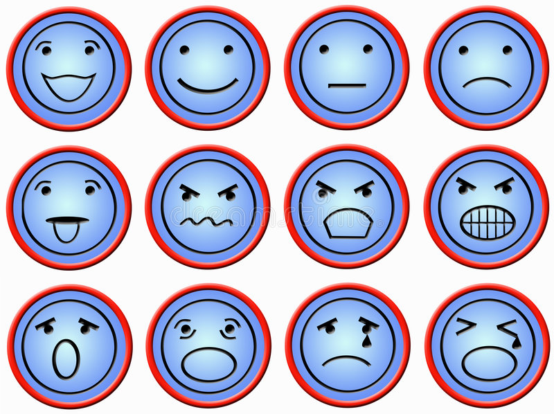 Twelve buttons with faces vector illustration