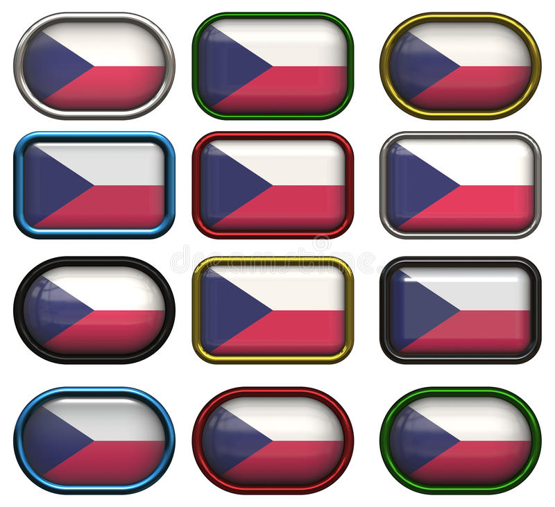Download Twelve Buttons Of The  Flag Of Czech Repulic Stock Illustration - Illustration: 10928478