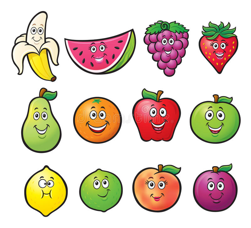 Twelve Cartoon Fruit Characters stock illustration