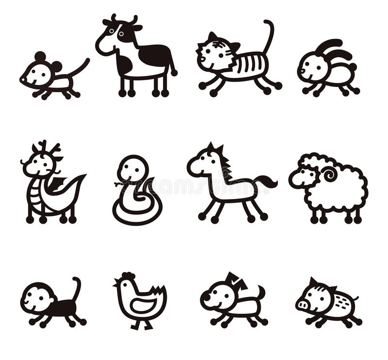 Twelve Chinese Zodiac Animals icon stock illustration