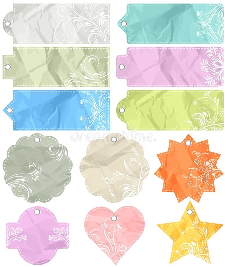 Twelve Crumple  Labels, Vector Stock Image