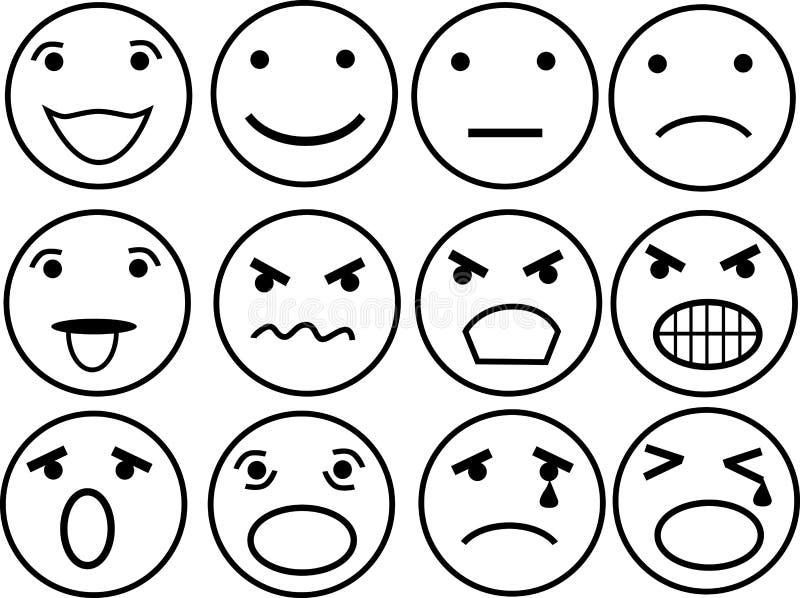 Twelve different mimics stock illustration