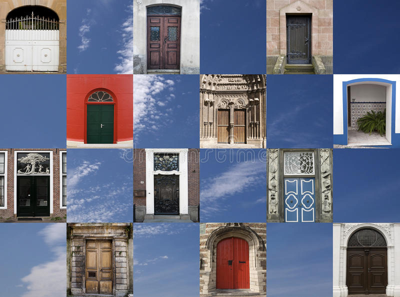 Twelve doors in different styles. Collage of twelve different, old and new doors in different styles against a blue sky background stock images