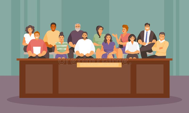 Jurors in the courtroom vector. Twelve jurors in the courtroom. Vector illustration royalty free illustration