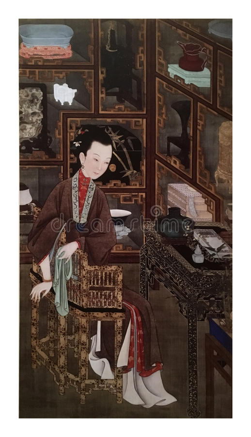 Twelve Lady Portraits, famous Chinese painting. Appreciating Antiques, one of Twelve Lady Portraits, Chinese meticulous figure painting during emperor Yongzheng stock image