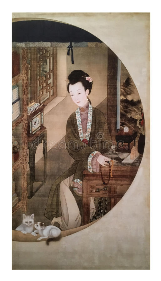 Twelve Lady Portraits, famous Chinese painting. Counting Prayer Beads, one of Twelve Lady Portraits, Chinese meticulous figure painting during emperor Yongzheng stock image