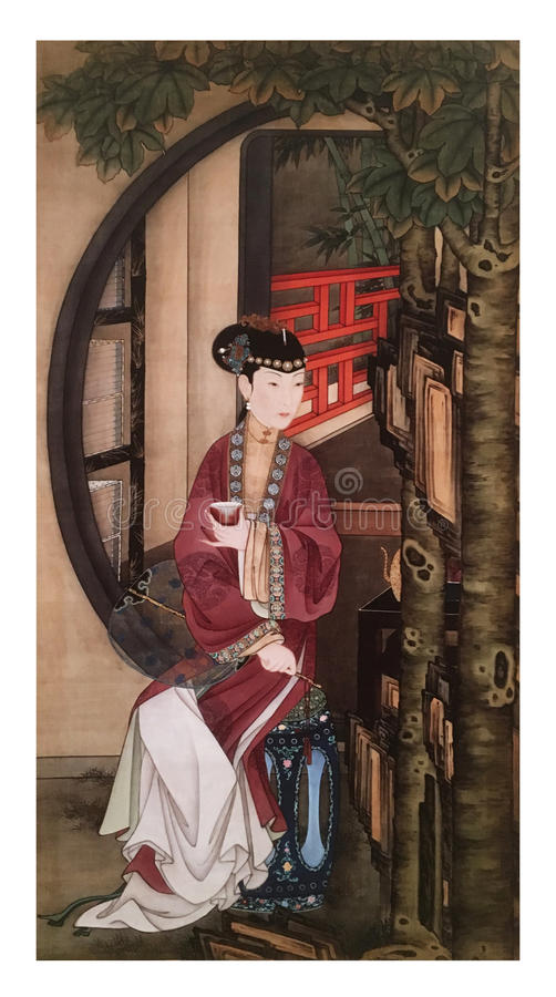 Twelve Lady Portraits, famous Chinese painting. Drinking Tea, one of Twelve Lady Portraits, Chinese meticulous figure painting during emperor Yongzheng 1723 stock photos