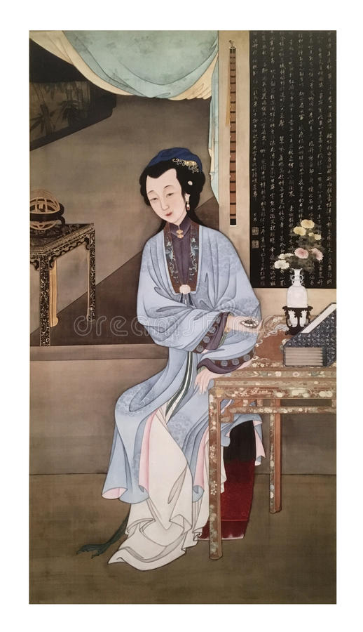 Twelve Lady Portraits, famous Chinese painting. Holding a Watch, one of Twelve Lady Portraits, Chinese meticulous figure painting during emperor Yongzheng 1723 royalty free stock photography