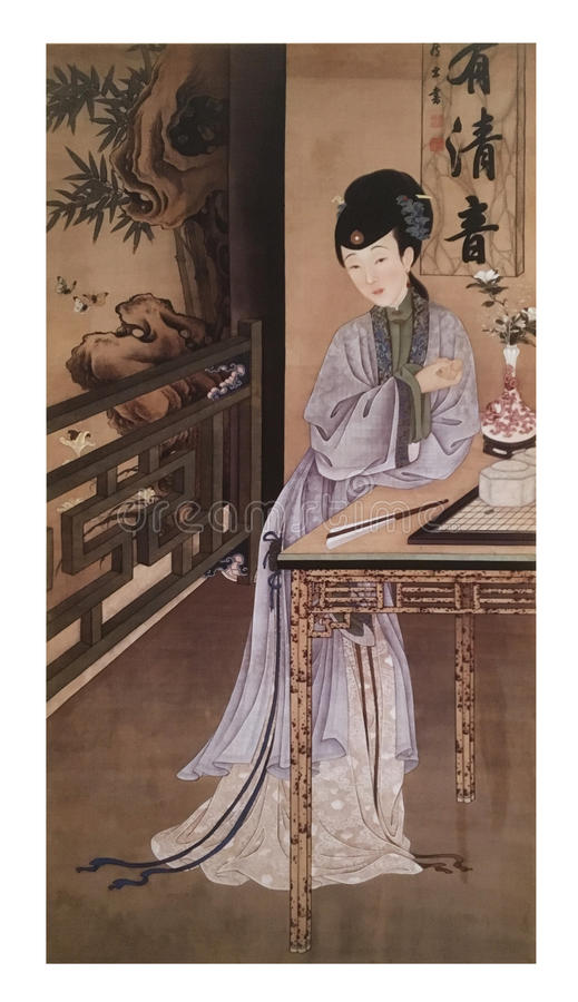 Twelve Lady Portraits, famous Chinese painting. Playing Go Chess, one of Twelve Lady Portraits, Chinese meticulous figure painting during emperor Yongzheng 1723 stock photos