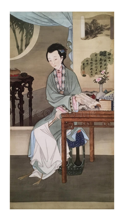 Twelve Lady Portraits, famous Chinese painting. Reading Book, one of Twelve Lady Portraits, Chinese meticulous figure painting during emperor Yongzheng 1723 stock photos