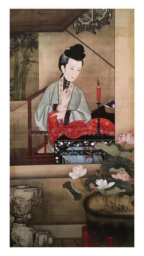 Twelve Lady Portraits, famous Chinese painting. Sewing Clothes, one of Twelve Lady Portraits, Chinese meticulous figure painting during emperor Yongzheng 1723 stock photos