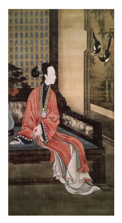 Twelve Lady Portraits, famous Chinese painting. Viewing Birds, one of Twelve Lady Portraits, Chinese meticulous figure painting during emperor Yongzheng 1723 royalty free stock image