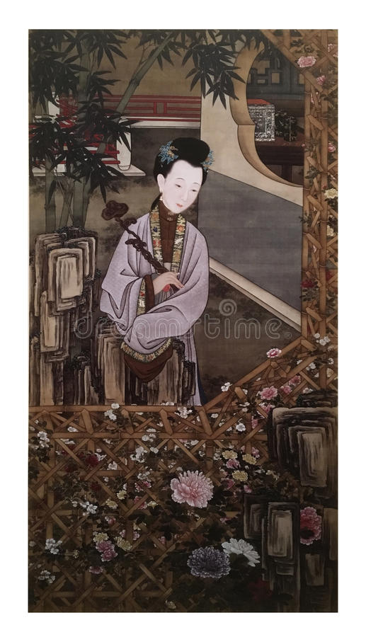 Twelve Lady Portraits, famous Chinese painting. Viewing Chrysanthemum, one of Twelve Lady Portraits, Chinese meticulous figure painting during emperor Yongzheng royalty free stock photography