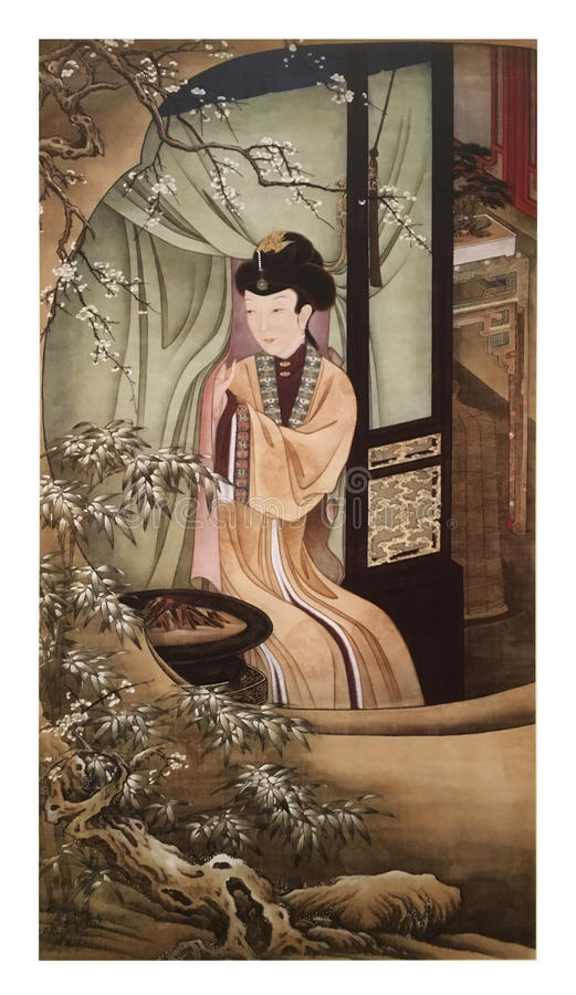 Twelve Lady Portraits, famous Chinese painting. Viewing Plum Blossom, one of Twelve Lady Portraits, Chinese meticulous figure painting during emperor Yongzheng royalty free stock photography