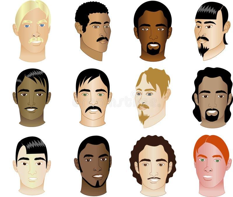 Twelve Men's Faces different races & cultural vector illustration