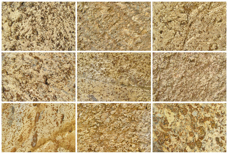 Twelve Natural Limestone Background or textures. Nine Natural Limestone Background or textures. The real color. Without saturation of colors royalty free stock photos
