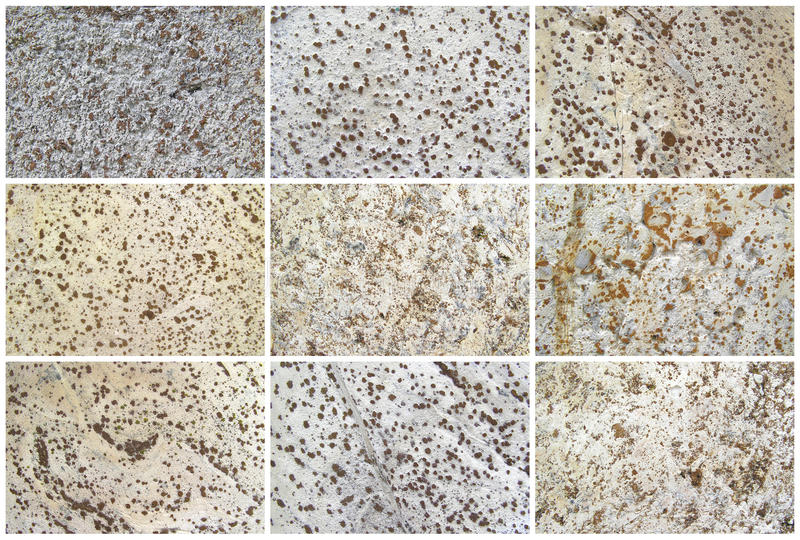 Twelve Natural Limestone Background or textures. Nine Natural Limestone Background or textures. The real color. Without saturation of colors royalty free stock photography