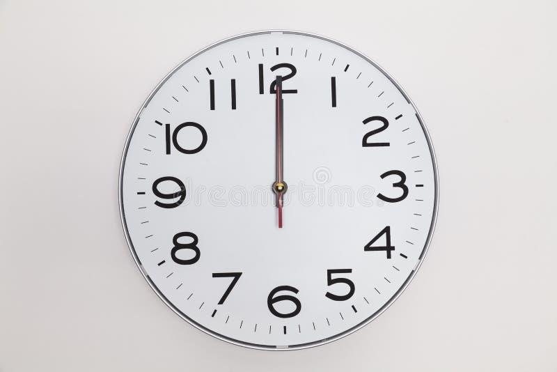 Twelve o'clock. Exactly twelve o'clock on a wall clock stock image