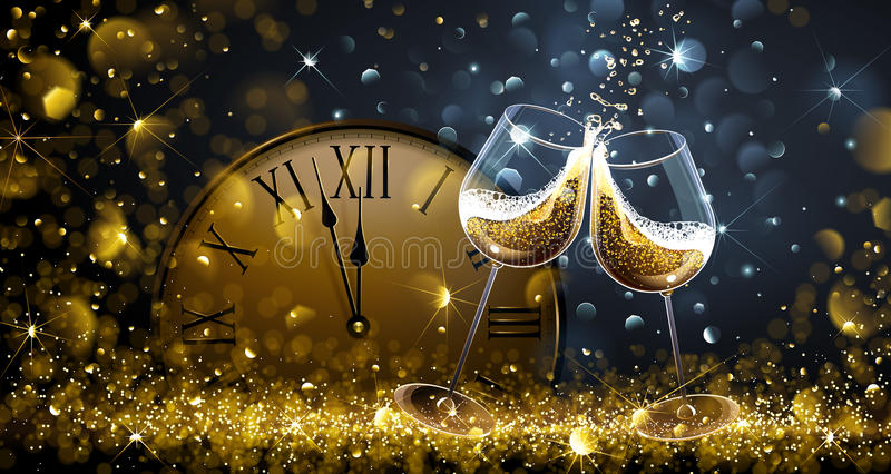 Twelve oClock on New Years Eve. With champagne and bokeh effects. Vector illustration royalty free illustration