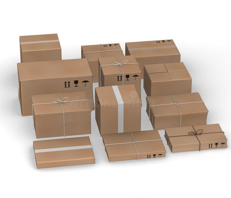 Download Twelve  paper packages stock illustration. Image of delivery - 23725681