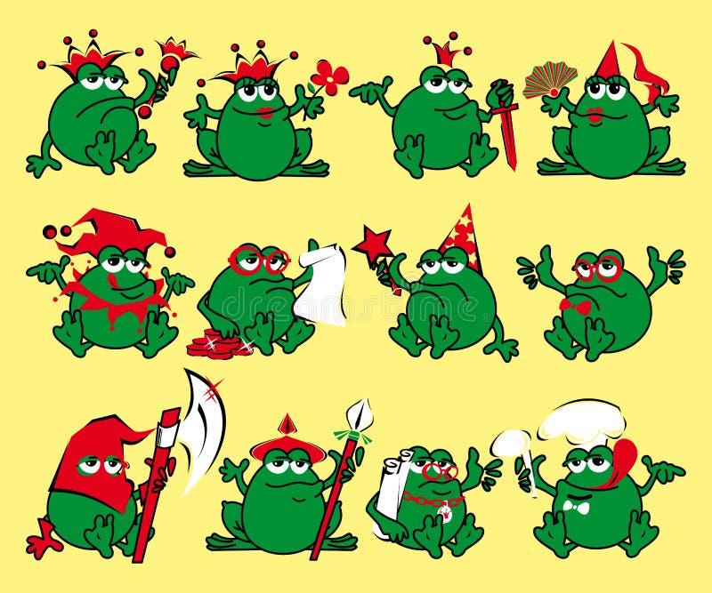 Twelve royalty cartoon frogs. Print for a T-shirt vector illustration