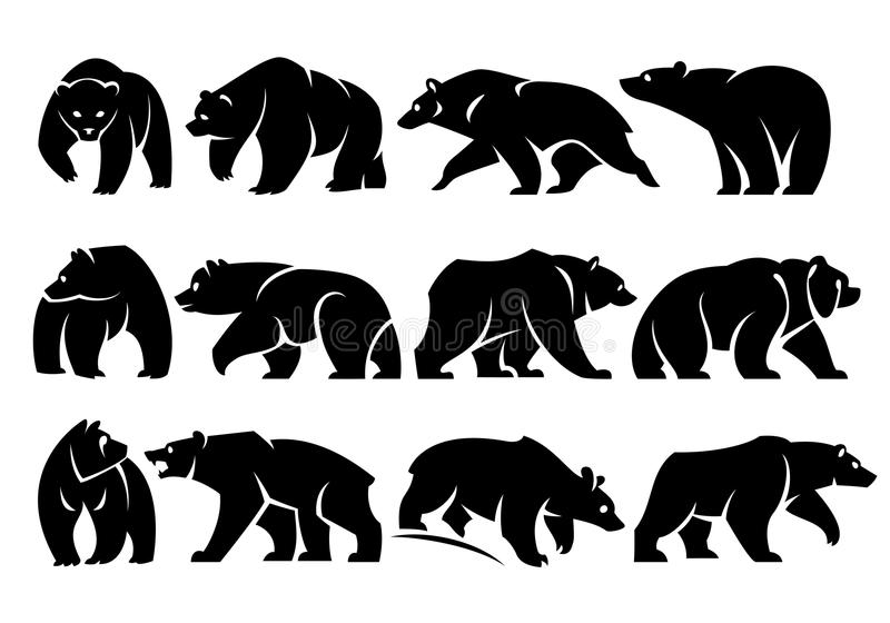 Twelve Separate walking figures of bears. Black silhouette. Isolated on a white background vector illustration