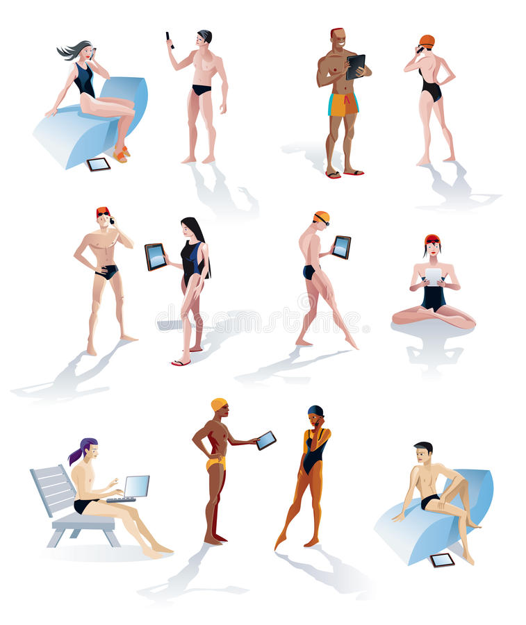 Download Twelve Swimmers With Digital Tablets Stock Vector - Image: 24153196