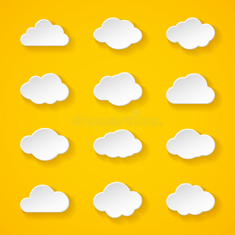 Twelve white paper clouds with different shapes stock illustration