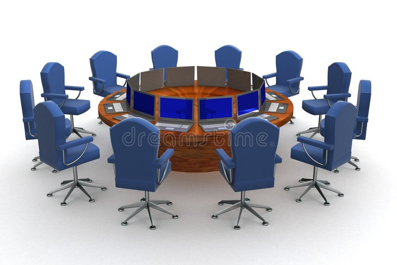 Download Twelve Workplaces Behind A Round Table. Stock Illustration - Image: 4556405
