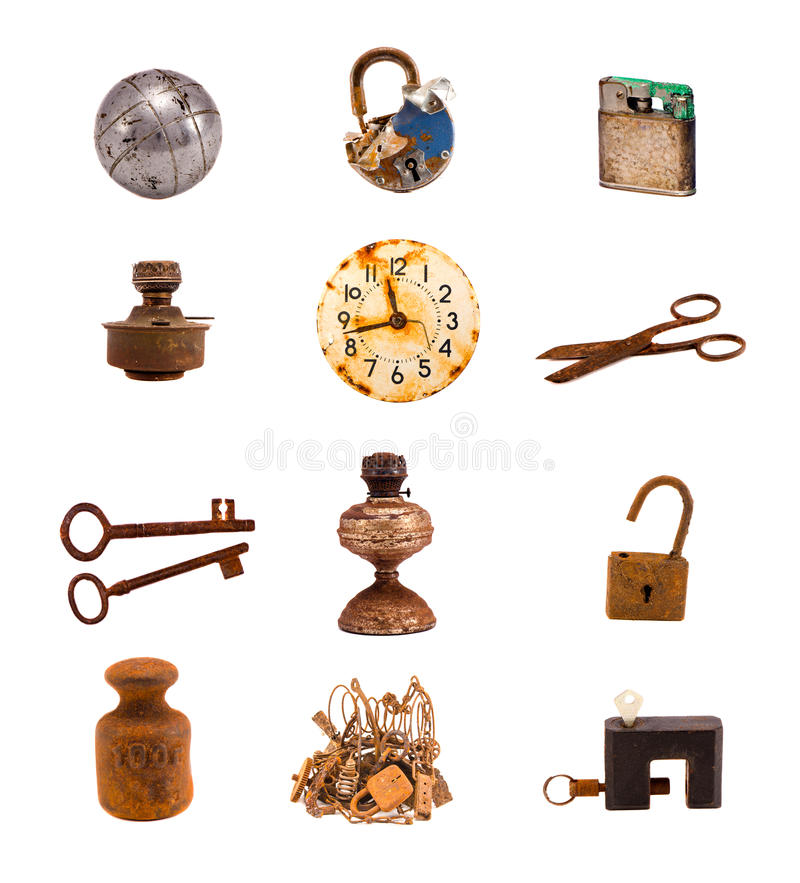 Free Twelwe Old Objects And Tools Isolated On White Royalty Free Stock Images - 32176439