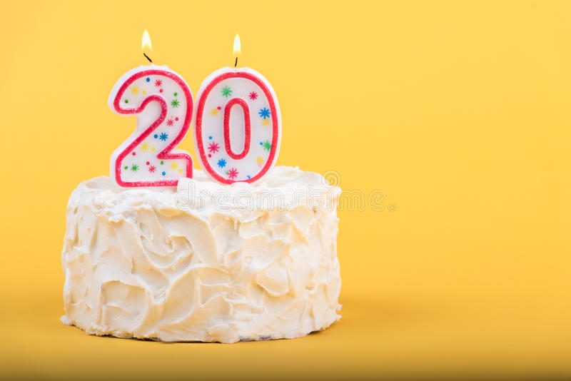Twentieth Birthday Cake Stock Photo Image Of Icing White 75921646
