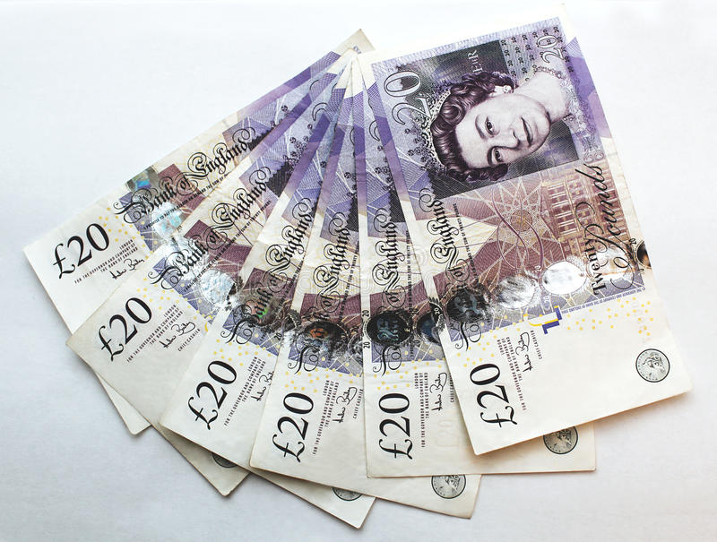 Twenty (20) Pounds Banknote Editorial Photography