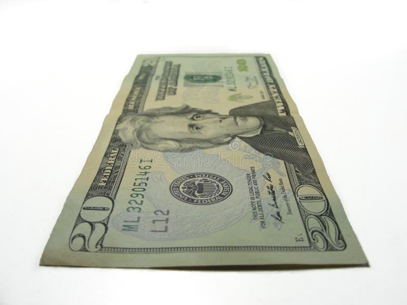 Twenty dollars isolated in white background stock photography